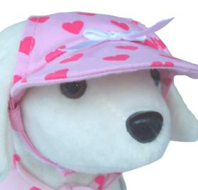 UP Collection Bow Cap for Dogs, Fuchsia Hearts-1