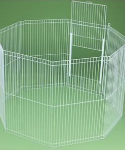 Ware Manufacturing Canvas 8-Panel Clean Living Small Pet Playpen Cage, Large, White