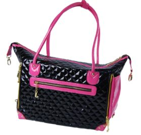 Black and Pink Quilted Faux Patent Leather Tote Purse Dog and Pet Carrier [FOR SMALL DOGS], 20-inch by 7-inch by 13-inch-2