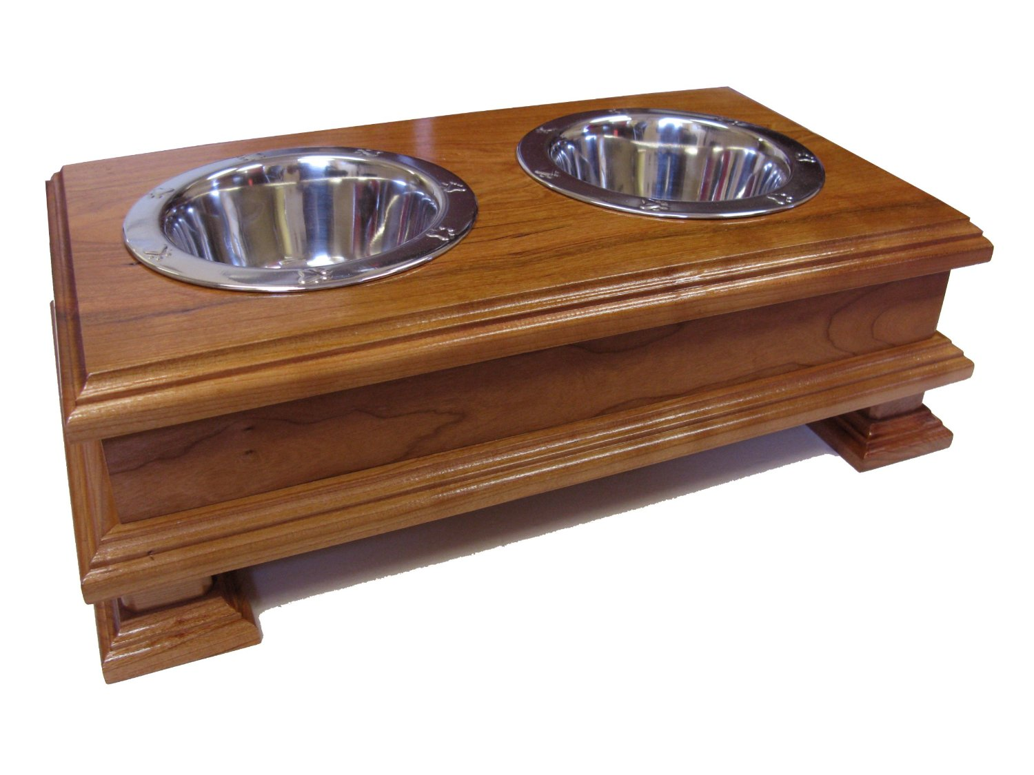Finest Solid Wood Cherry Elevated Dog Feeder - Raised Dog ...