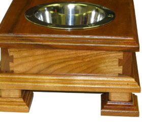 Finest Solid Wood Cherry Elevated Dog Feeder - Raised Dog Bowl Stand Or Dog Food Dish Holder - For small DOGS Yorkies Boston Terrier Chihuahua Beagles Terriers Spaniels and more-2
