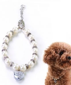 Alfie Couture Designer Pet Jewelry - Zoe Crystal Heart Pearl Necklace for Dogs and Cats-1