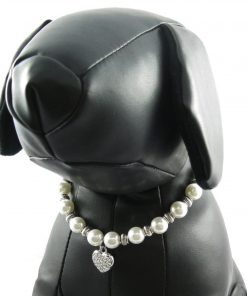 Alfie Couture Designer Pet Jewelry - Zoe Crystal Heart Pearl Necklace for Dogs and Cats-4