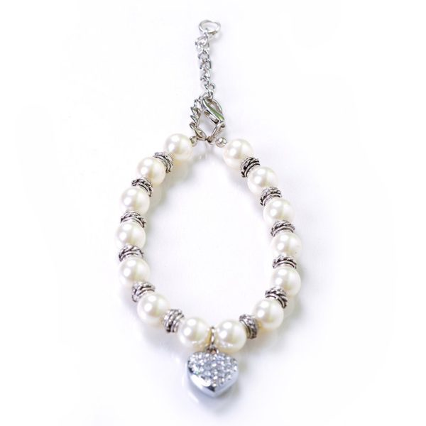Alfie Couture Designer Pet Jewelry - Zoe Crystal Heart Pearl Necklace for Dogs and Cats-5