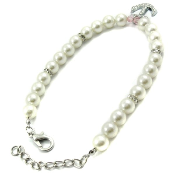 Alfie Couture Designer Pet Jewelry - Alea Pearl Necklace with Crystal Anchor for Dogs and Cats-3