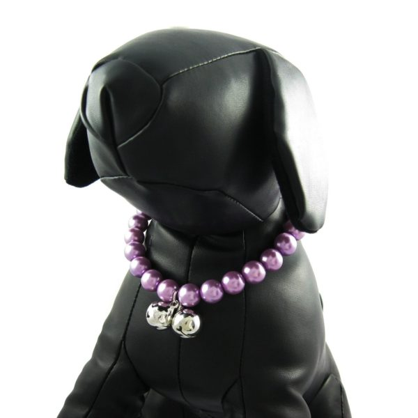 Alfie Couture Designer Pet Jewelry - Jinny Pearl Necklace with Bells for Dogs and Cats-3