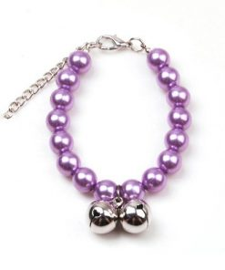 Alfie Couture Designer Pet Jewelry - Jinny Pearl Necklace with Bells for Dogs and Cats-4