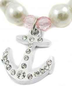 Alfie Couture Designer Pet Jewelry - Alea Pearl Necklace with Crystal Anchor for Dogs and Cats-5