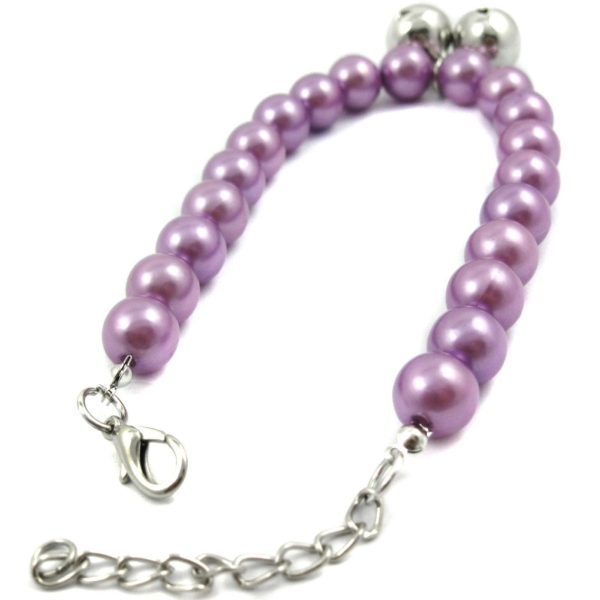 Alfie Couture Designer Pet Jewelry - Jinny Pearl Necklace with Bells for Dogs and Cats-6