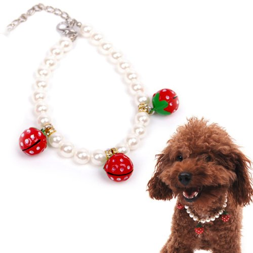 Alfie Couture Designer Pet Jewelry - Nora Pearl Necklace with Red Strawberry for Dogs and Cats-1