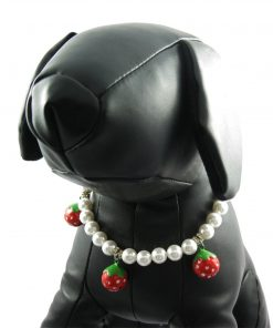 Alfie Couture Designer Pet Jewelry - Nora Pearl Necklace with Red Strawberry for Dogs and Cats-5