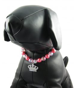 Alfie Couture Designer Pet Jewelry - Eliza Crystal Crown Pearl Necklace for Dogs and Cats-4