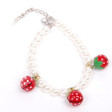 Alfie Couture Designer Pet Jewelry - Nora Pearl Necklace with Red Strawberry for Dogs and Cats-6