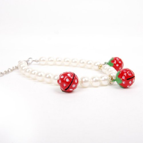 Alfie Couture Designer Pet Jewelry - Nora Pearl Necklace with Red Strawberry for Dogs and Cats-7
