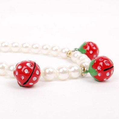 Alfie Couture Designer Pet Jewelry - Nora Pearl Necklace with Red Strawberry for Dogs and Cats-8
