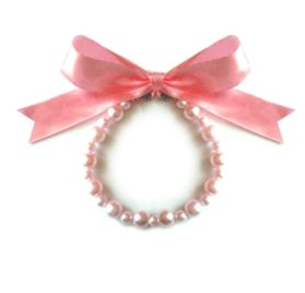 SACAS Pink Pearl w/ Ribbon Dog Necklace