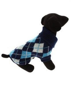 "UrbanPup Blue Argyle Sweater (Small - Dog Body Length: 10"" / 25cm) - 1"