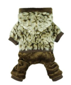 Fitwarm® Luxury Faux Furred Thick Winter Pet Dog Hooded Coat Clothes Jacket Jumpsuit - 1