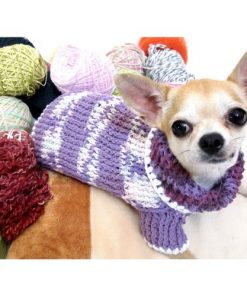 Warm Dog Sweater Soft Purple Pastel Colorful Pet Clothes Cotton Knit Cat Puppy Clothing Handmade By Myknitt Dk864 - Free Shipping - 1