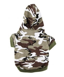 Army Green Camouflage Hoodie Pet Dog Clothes Camo Sweatshirt-S Size - 3
