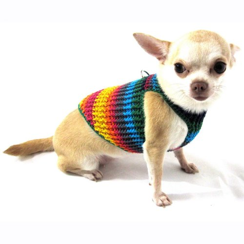 Myknitt Handmade Crochet Dog Harness Rainbow Colorful Chihuahua Clothes Pet 2