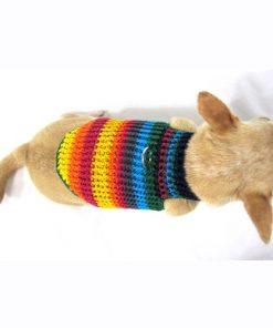 Myknitt Handmade Crochet Dog Harness Rainbow Colorful Chihuahua Clothes Pet 3