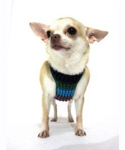 Myknitt Handmade Crochet Dog Harness Rainbow Colorful Chihuahua Clothes Pet 4