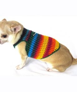 Myknitt Handmade Crochet Dog Harness Rainbow Colorful Chihuahua Clothes Pet