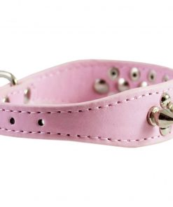 Pink Faux Leather Spiked Studded Dog Collar 3