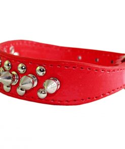"8""-10"" Red Faux Leather Spiked Studded Dog Collar 7/8"" Wide for Small/X-Small Breeds and Puppies 2"