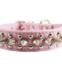 Pink Faux Leather Spiked Studded Dog Collar