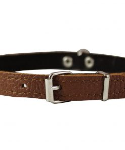 Brown Genuine Leather Felt Padded Dog Collar