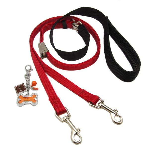 Alfie Pet by Petoga Couture - Erin Adjustable Tangle-Free Dual Leash with Photo Charm Keychain Set - Black
