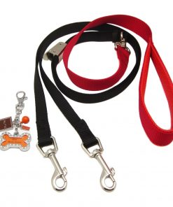 Alfie Pet by Petoga Couture - Erin Adjustable Tangle-Free Dual Leash with Photo Charm Keychain Set