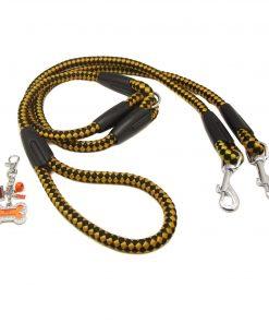 Harper Dual Leash with Photo Charm Keychain Set Yellow