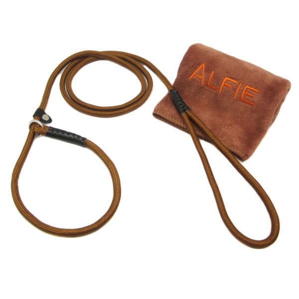 Avery Adjustable Slip Leash with Microfiber Fast-Dry Washcloth Brown