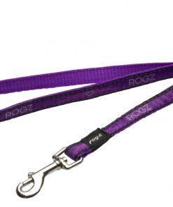 Rogz Fancy Dress Small 3/8-Inch Jellybean 6-ft Long Fixed Dog Lead, Purple Chrome Design