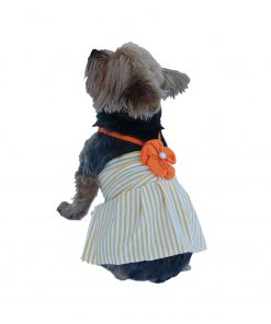 Anima Stripe Poly Cotton Halter Top Dress with Flower 2