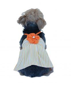 Anima Stripe Poly Cotton Halter Top Dress with Flower