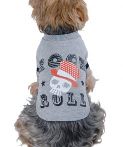 Black ROCK N ROLL Shirt for Dogs with Fun Skull Print, Gray or Black