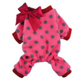 Fitwarm® Cute Ribbon Polka Dots Fleece Pet Dog Coats Pajamas Soft Pjs Winter Clothes-1