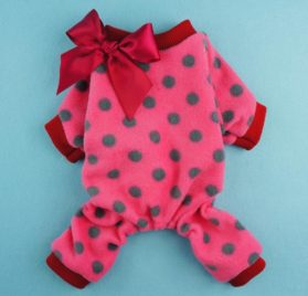 Fitwarm® Cute Ribbon Polka Dots Fleece Pet Dog Coats Pajamas Soft Pjs Winter Clothes-2