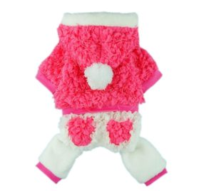 Fitwarm® High Quality Fuzzy Winter Pink Dog Coat for Pet Hoodie Clothes Thick Warm Jumpsuit-1