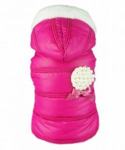Fitwarm Pink Pet Dog Hoodies Coats Winter Jacket Apparel + Brooch-1