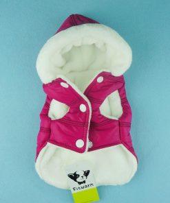 Fitwarm Pink Pet Dog Hoodies Coats Winter Jacket Apparel + Brooch-2