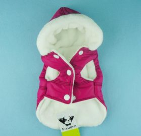Fitwarm Pink Pet Dog Hoodies Coats Winter Jacket Apparel + Brooch-2