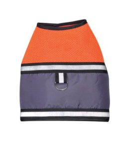 Dog Harness Vest - Mesh Reflective Orange Safety Vest with D-ring and Velcro Closures-1