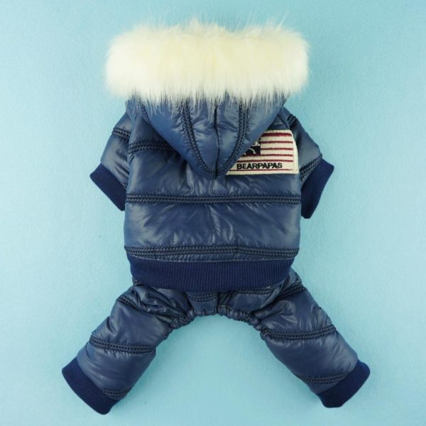 Fitwarm Stylish Faux Furred Pet Dog Coat for Winter Dog Clothes Thick Warm Jacket Hoodies-2
