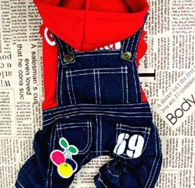 Pet Cat Dog Cherry Sweater Jeans Overalls Jumpsuit Coat Small Dog Clothes XS S M L XL-1