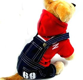 Pet Cat Dog Cherry Sweater Jeans Overalls Jumpsuit Coat Small Dog Clothes XS S M L XL-5